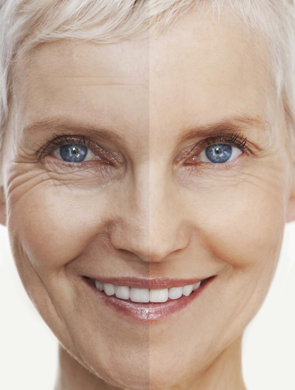 Conceptual portrait of a beautiful senior woman's face